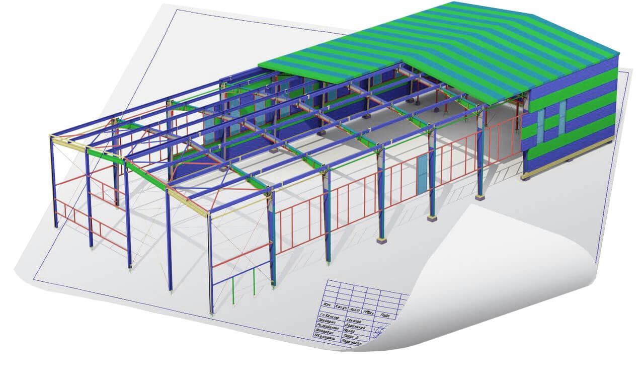 Схема здания из сэндвич-панелей